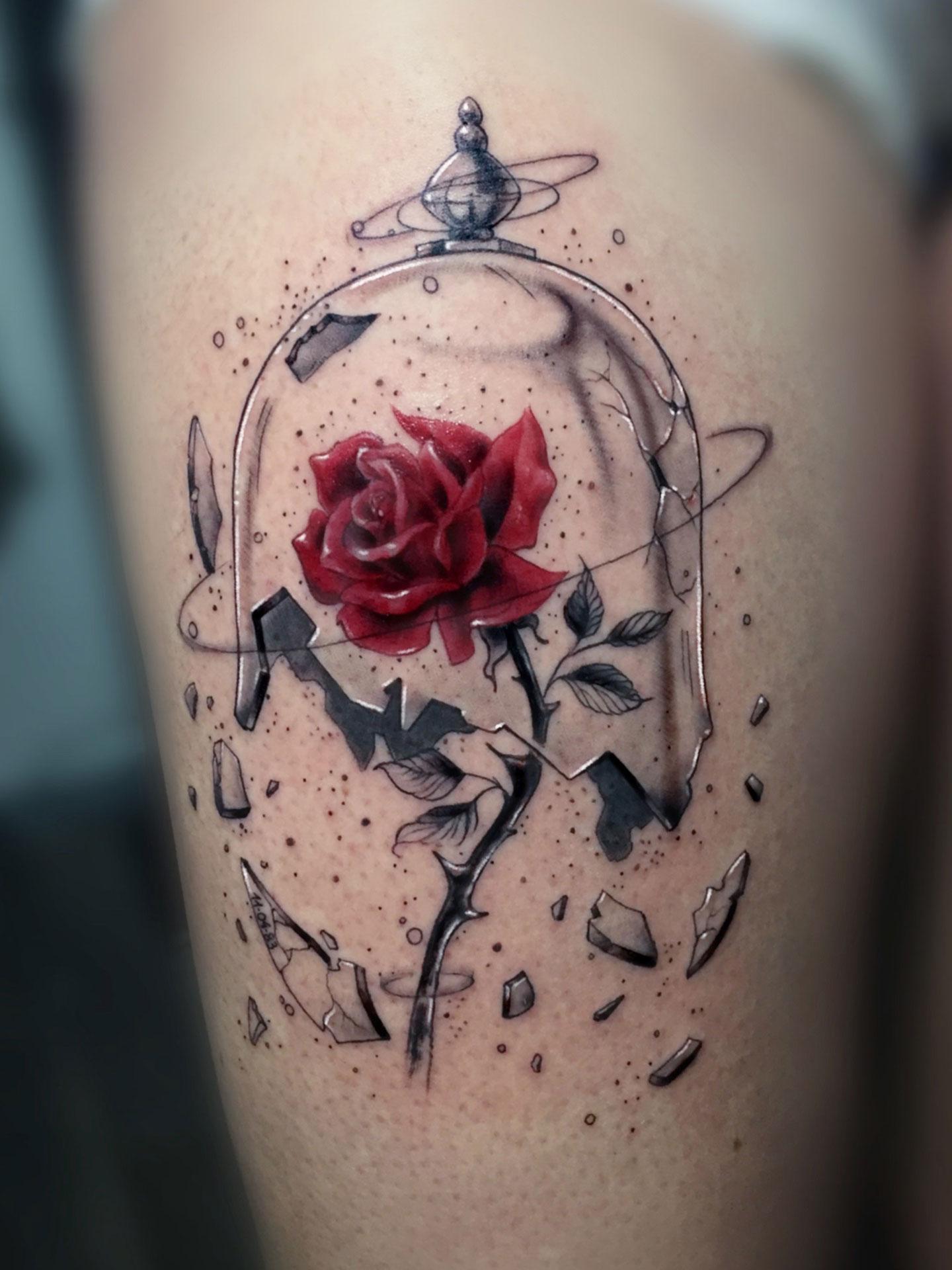 Tatuaje Rosa Cristal